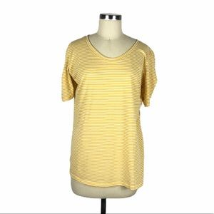 CASLON Yellow Striped Puff Sleeve Top 2X NWT